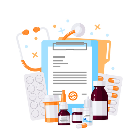Medical design made of bottles with medications, patient chart, stethoscope, pills and drops. Vector concept in flat style on white background