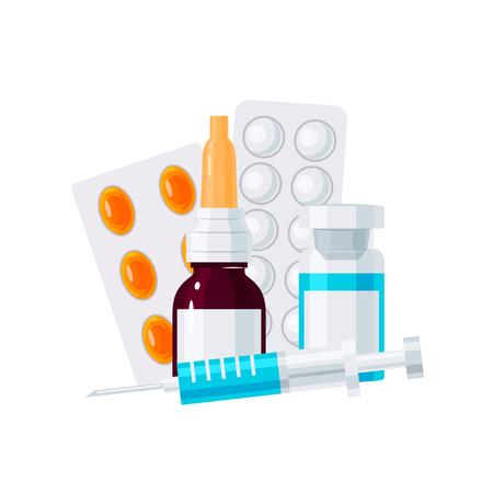 Geneeskunde vector concept. Neusdruppels, spuit en pillen in blaren in vlakke stijl op witte achtergrond Vector Illustratie