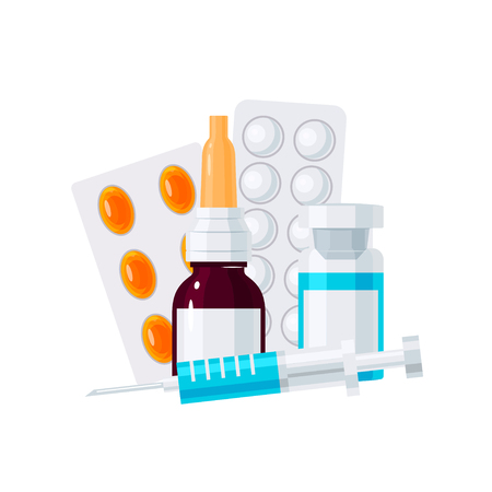 Medicine vector concept. Nasal drops, syringe and pills in blisters in flat style on white background Illusztráció