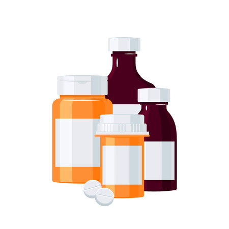 Pharmacy bottles concept. Orange and brown medicine vials. Vector illustration in flat style.