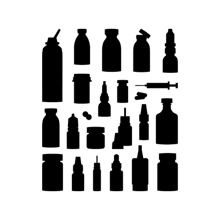 Set of medicine items, vector concept. Bottles with medications, pills and drops in flat style. Black silhouettes on white background