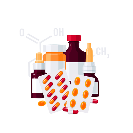 Medicine vector concept. Bottles with drugs and pills in blisters in flat style on white background Illustration