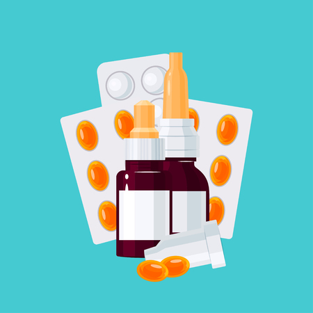 Medicine vector concept. Medication bottles and pills in blisters in flat style on turquoise background Illustration