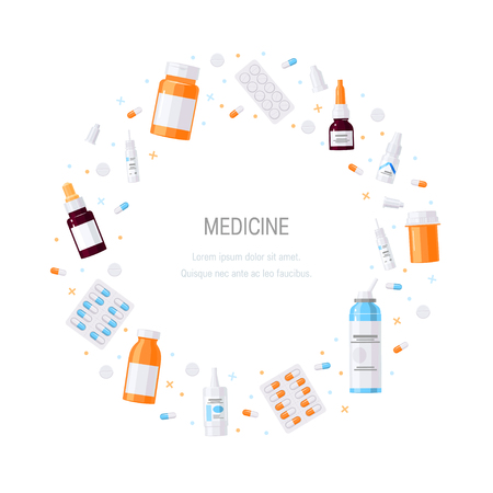 Circle frame made of medicine items, vector. Bottles with medications, pills and drops in flat style on white background