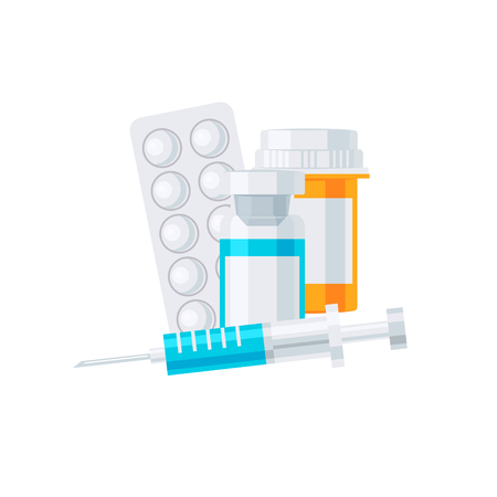 Medicine vector concept. Yellow medication bottle, syringe and pills in blisters in flat style on white background