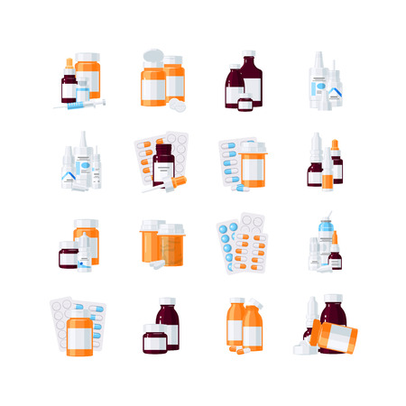 Set of medicine items, vector concept. Bottles with drugs and pills in blisters in flat style on white background