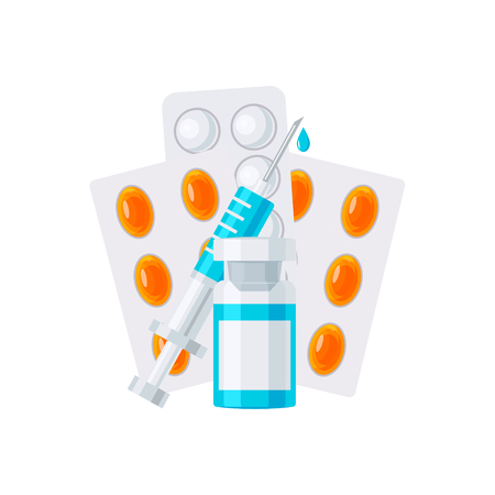 Medicine vector concept. Syringe with ampoule and pills in blisters in flat style on white background Illustration
