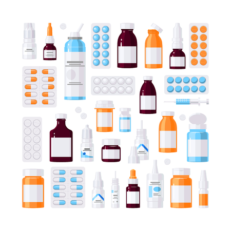 Set of medicine items, vector concept. Bottles with medications, pills and drops in flat style on white background Illustration