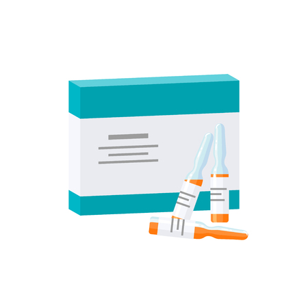 Vaccination concept. Packaging box for ampoules, vector illustration in flat style Banco de Imagens - 126499522