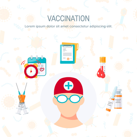 Vaccination infographic concept. Vector illustration in flat style on white background. Template for web banner or medical poster