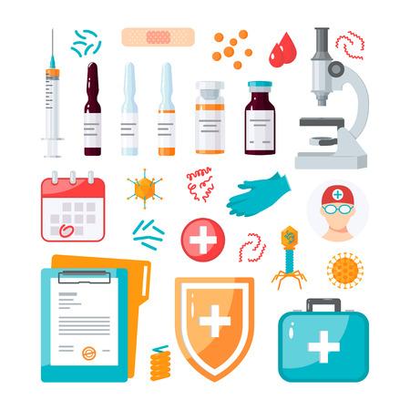 Satz Medizinartikel für Impfinfografik. Vektorillustration im flachen Stil auf weißem Hintergrund