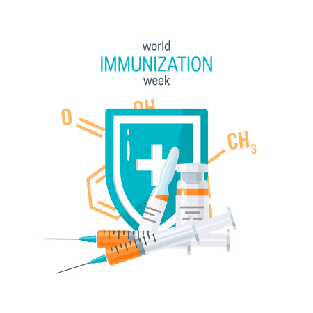 Vaccination concept. Syringe and bottles of vaccine, vector illustration in flat style. Template for brochure or web banner