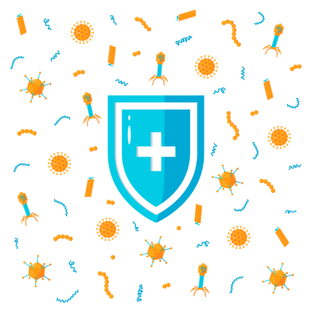 Immune system concept. Medical shield surrounded by viruses and bacterium