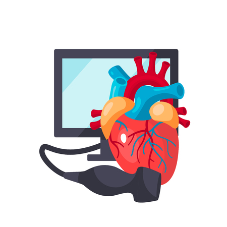 Heart ultrasound concept. Vector illustration for medical articles, posters, web banners etc. in flat style