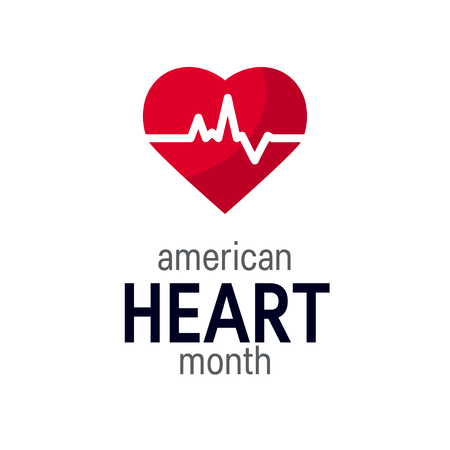 National heart month concept. Simple design in flat style, vector Vettoriali