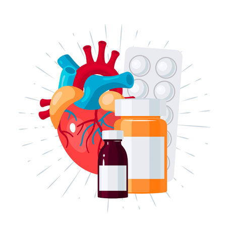 Heart medication concept. Vector illustration for medical articles, posters, web banners etc. in flat style