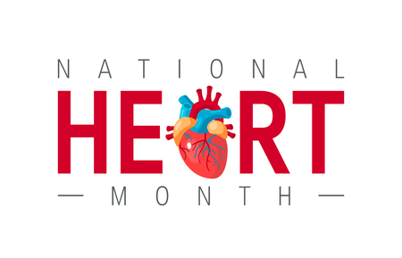 National heart month concept. Horizontal design with typography and human heart in flat style, vector Illustration