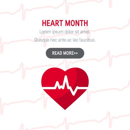 Concept du mois national du cœur. Conception simple pour les bannières Web dans un style plat, vecteur