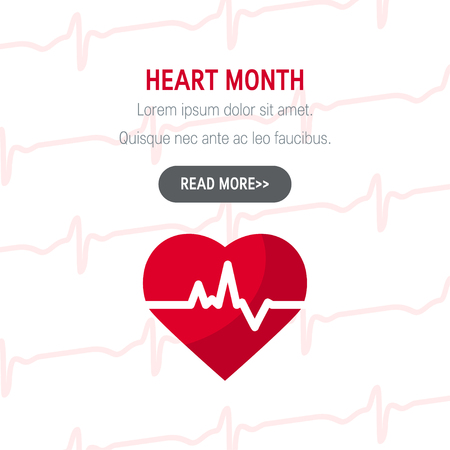 National heart month concept. Simple design for web banners in flat style, vector
