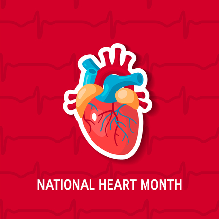 National heart month concept. Design with human heart in flat style, vector