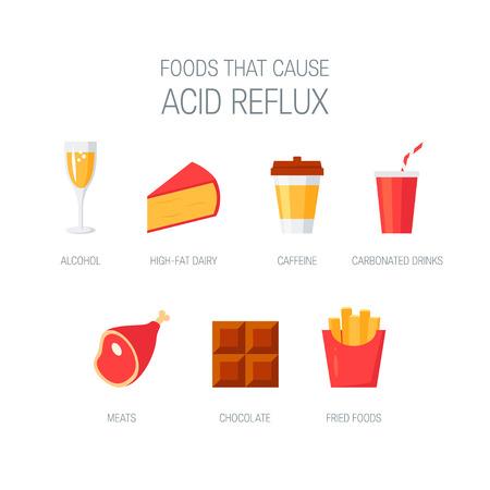 Alimentos que causan la enfermedad por reflujo ácido. Iconos simples para infografía médica. Ilustración de vector de estilo plano.