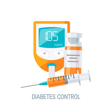 Diabetes management concept. Blood glucose monitor and insulin with vial. Vector illustration in flat style