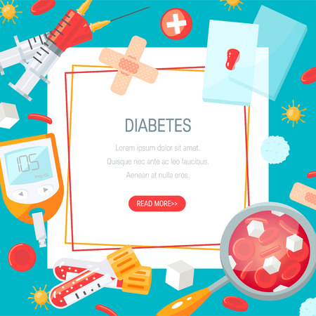 Diabetes concept. Template for web banners, posters etc. Vector illustration in flat style