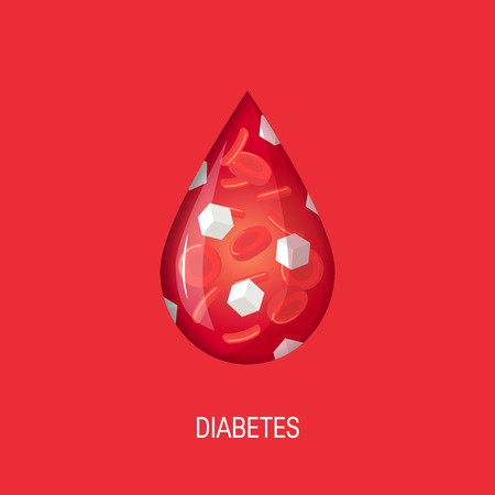 Diabetes concept. Glucose in the bloodstream. Vector illustration in flat style Illustration
