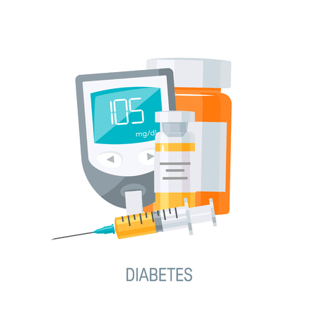 Diabetes management concept. Blood glucose monitor, medicine and insulin with vial. Vector illustration in flat style 向量圖像