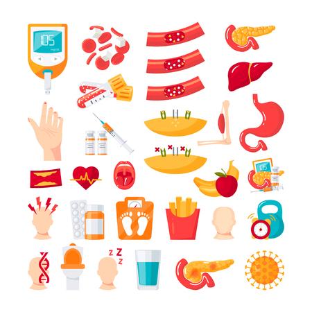 Diabetes mellitus disease. Set of vector icons in flat style Vector Illustratie