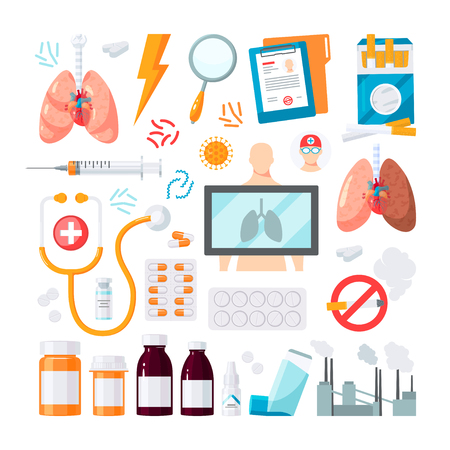 Set of respiratory vector icons in flat style. Elements for medical infographics.