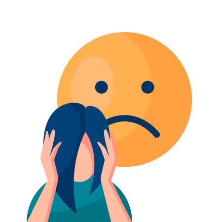 Concepto de vector de depresión. Mujer sosteniendo su cabeza y sufriendo de enfermedad mental