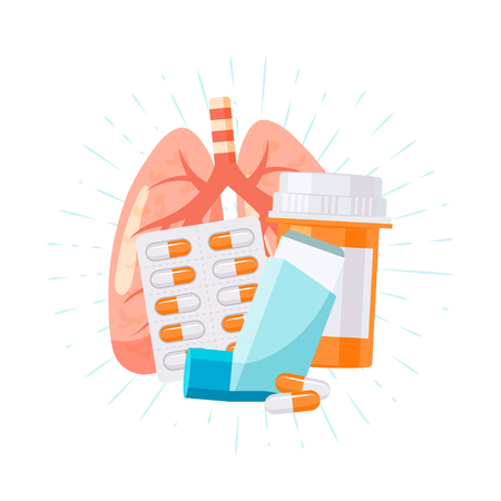 Trattamento per le malattie polmonari. Illustrazione vettoriale in stile piatto per articoli medici, poster, banner web, infografica ecc.