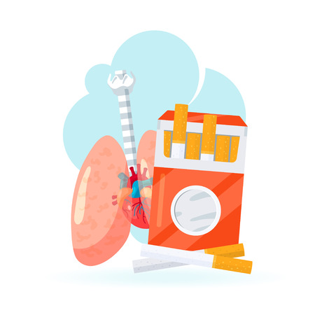 Smoking concept. Lungs and pack of cigarettes. Vector illustration in flat style