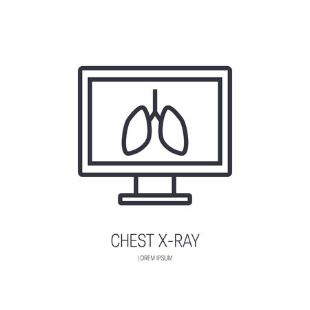 Chest x-ray line icon. Vector illustration in flat style. Template for web banners, advertising, posters, infographics etc.