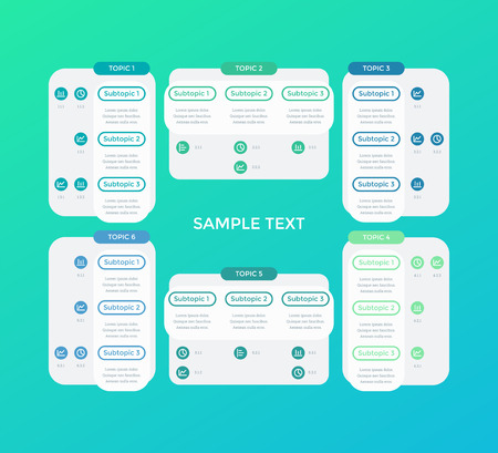 Rectangular infographic design for business presentation, data visualization. Template for 6 different options with title, subtitle and data. Vector illustration in flat style