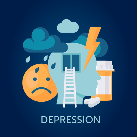 Depression vector concept in flat style. Design with clouds, medications, sad emoticon and human head. Symbol of mental disease