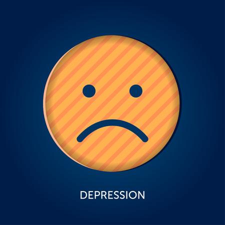 Depression vector concept. Sad emoticon as symbol of mental disorder Illustration