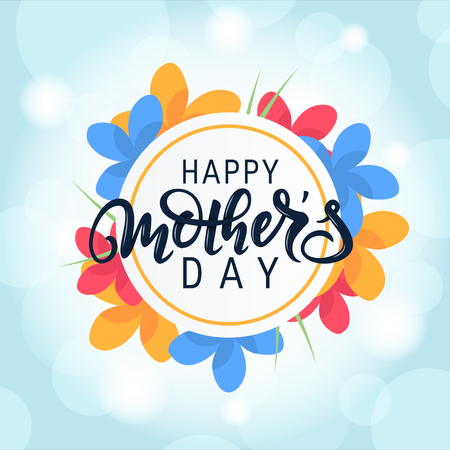 Happy Mothers day design with modern handwritten lettering. Vector template for cards, invitations, banners, posters etc.
