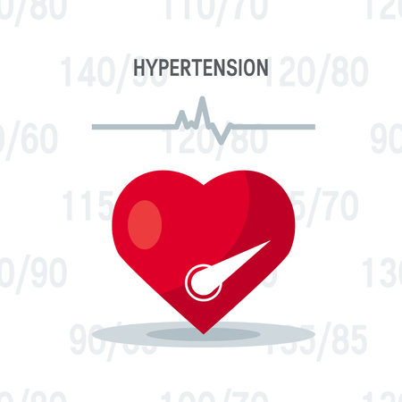 Hypertension vector concept. Heart as blood pressure monitor in flat style. Banque d'images - 121404817