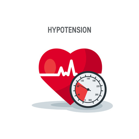 Hypotension vector concept. Heart as blood pressure monitor in flat style.