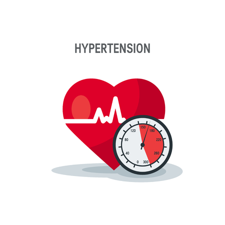 Hypertension vector concept. Heart as blood pressure monitor in flat style. Banque d'images - 124004237