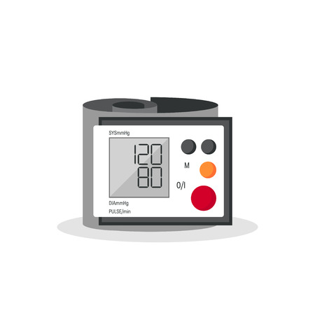 Blood pressure monitor. Vector image of a digital sphygmomanometer with a cuff placed around the wrist Banque d'images - 124004240