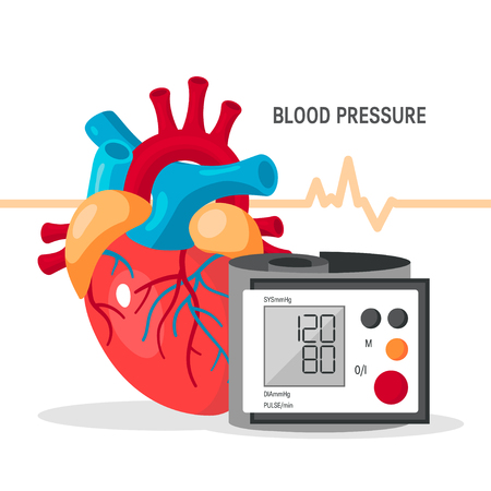Blood pressure vector concept. Design with human heart and blood pressure monitor in flat style.
