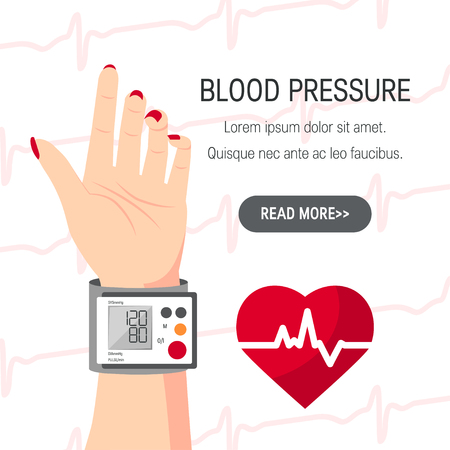 Blood pressure vector concept. Design with human hand and blood pressure monitor in flat style. Banque d'images - 124004243