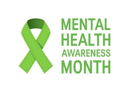Mental health awareness month concept. Simple typography design in flat style, vector Ilustración de vector