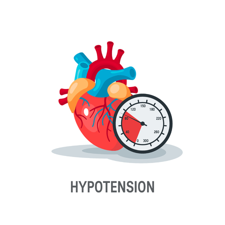 Hypotension vector concept. Human heart with blood pressure monitor in flat style. Illustration