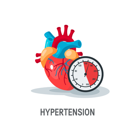 Hypertension vector concept. Human heart with blood pressure monitor in flat style.