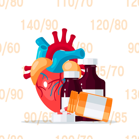Hypertension and hypotension treatment concept. Vector illustration for medical articles, posters, web banners etc. in flat style Banque d'images - 121404834