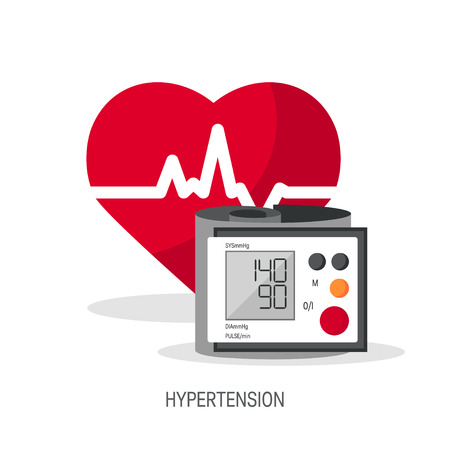 Blood pressure vector concept. Design with heart and blood pressure monitor in flat style.